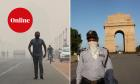 Man walks while wearing a mask as a thick haze blankets the streets near the India Gate war memorial, in New Delhi, India, 29 October 2019. RIGHT: APRIL 5: Security guards are posted to the iconic monument, India Gate as India battles the Covid 19 pandemic on April 5, 2020 in New Delhi, India
