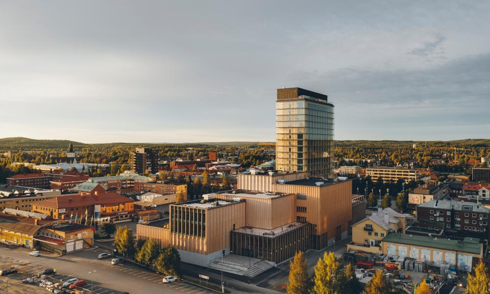 Stronger than steel … the Sara Cultural Centre topped with the Wood hotel