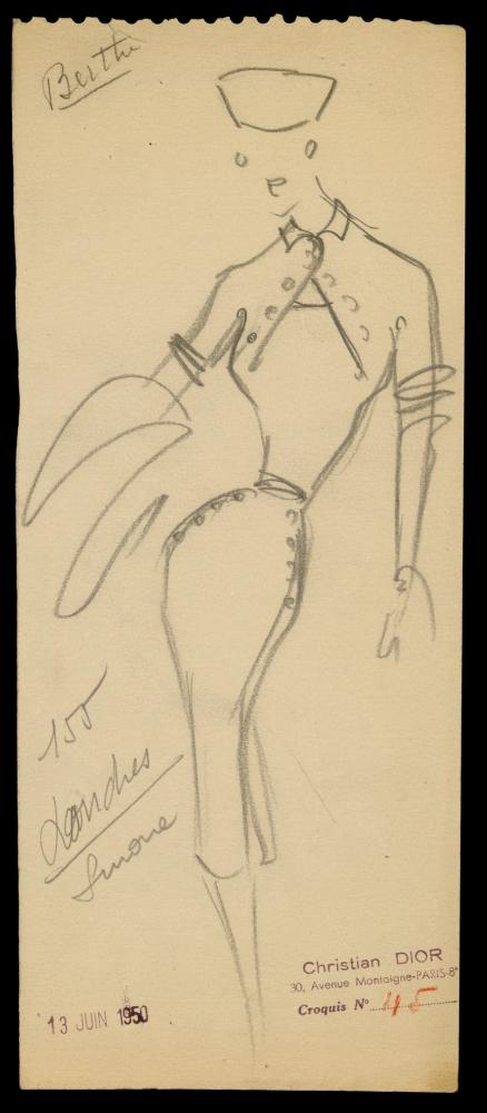 Sketch by Christian Dior for the model Londres, 1950.