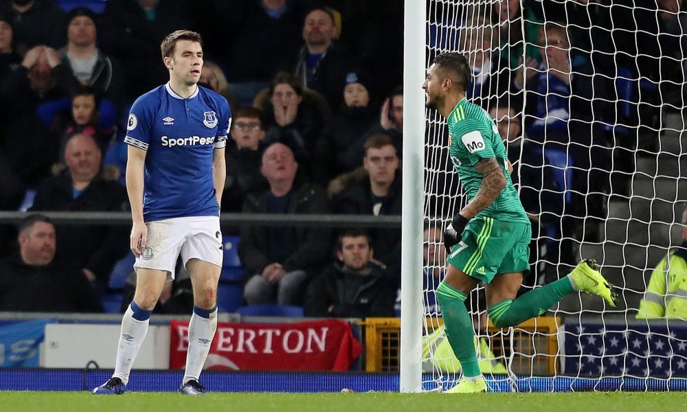 Everton's Seamus Coleman reacts after scoring an own goal.
