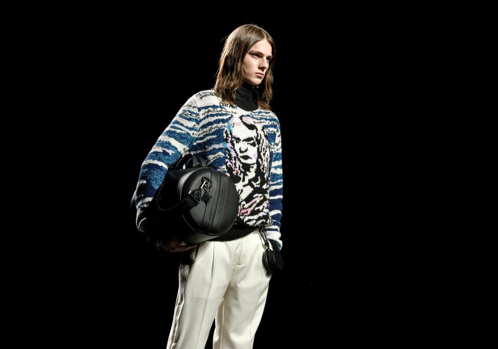 Big bags on the catwalk for Dior Homme in Paris.