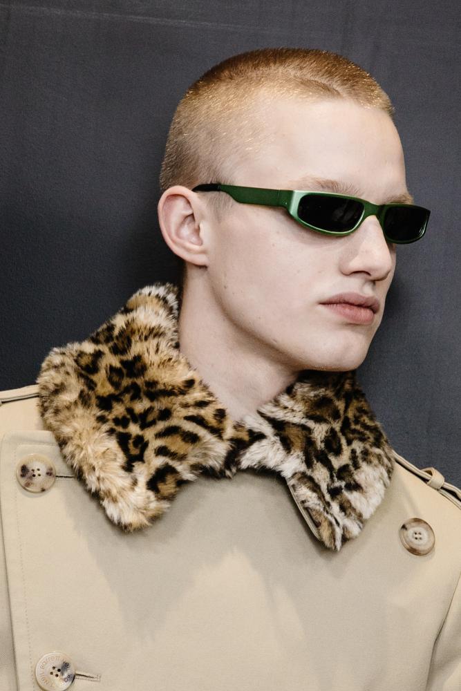 Leopard print collars at the Neil Barrett show at Milan.