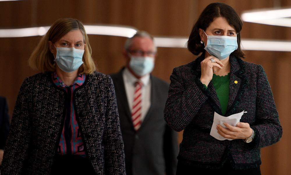 The NSW premier Gladys Berejiklian (right) and chief health Officer Dr Kerry Chant