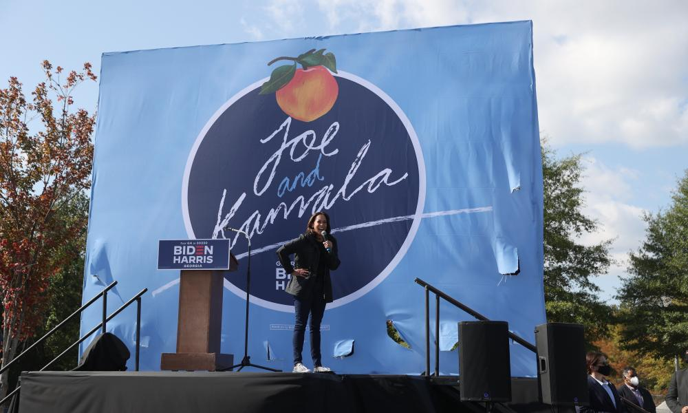 Presidential Nominee Senator Kamala Harris speaks during a drive-in campaign event at the Infinite Energy Center on November 01, 2020 in Duluth, Georgia.