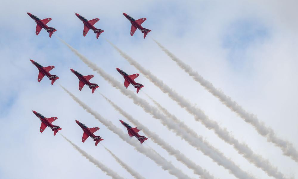 The Red Arrows perform at the 2017 Royal International Air Tattoo at RAF Fairford in Gloucestershire.