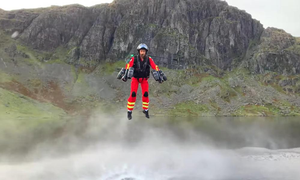 Lifesaver? Gravity Industries founder Richard Browning flies in Langdale, Cumbria, to a simulated casualty site near Bowfell.