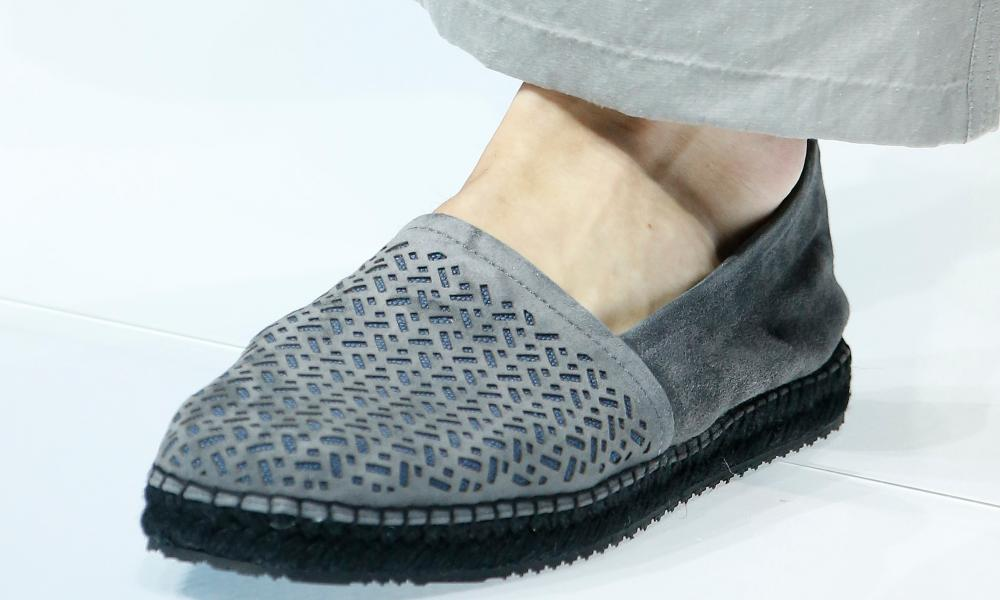 Suede espadrille with cutout detail at Armani