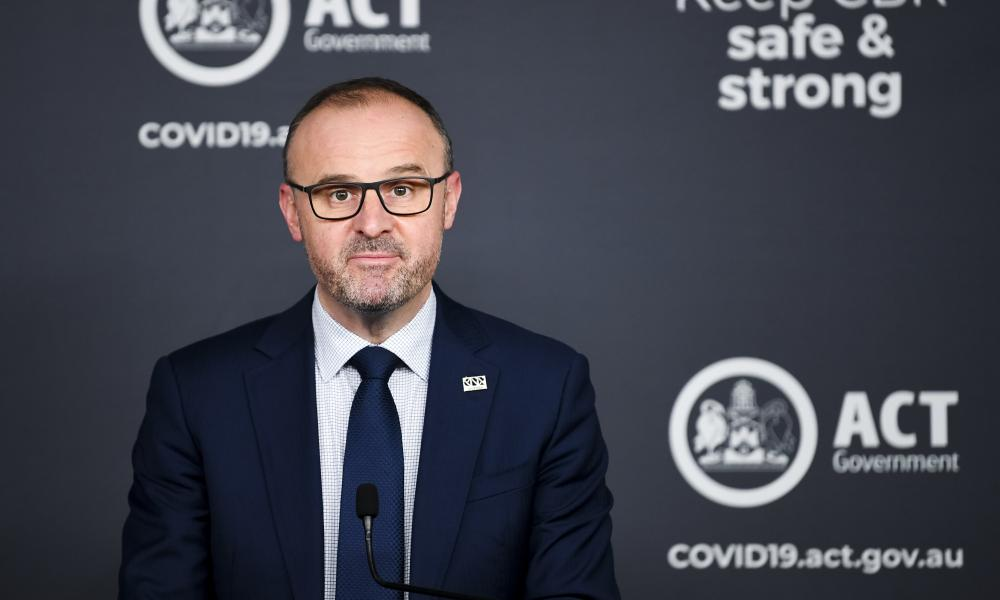 ACT chief minister Andrew Barr speaks to the media in Canberra, Monday, 13 September 2021.
