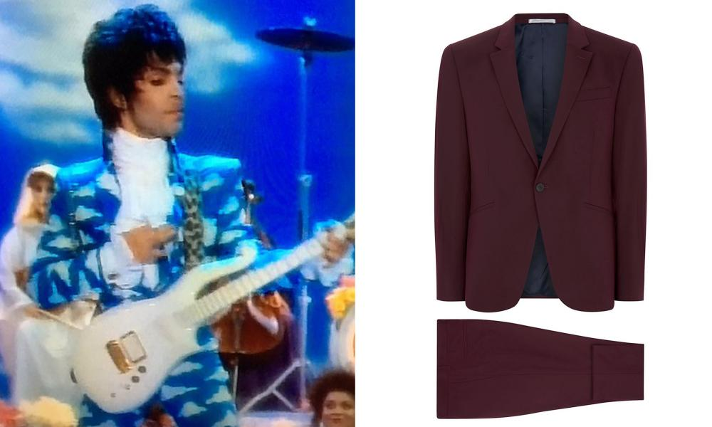 Prince in the video for Raspberry Beret, and purple tailored suit, £160, from Topman.