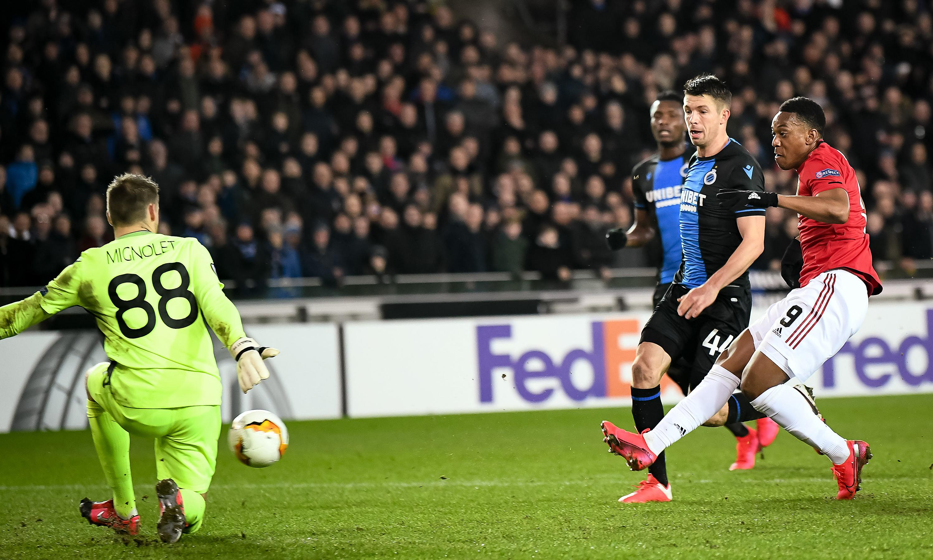 Anthony Martial puts Manchester United in driving seat against Brugge