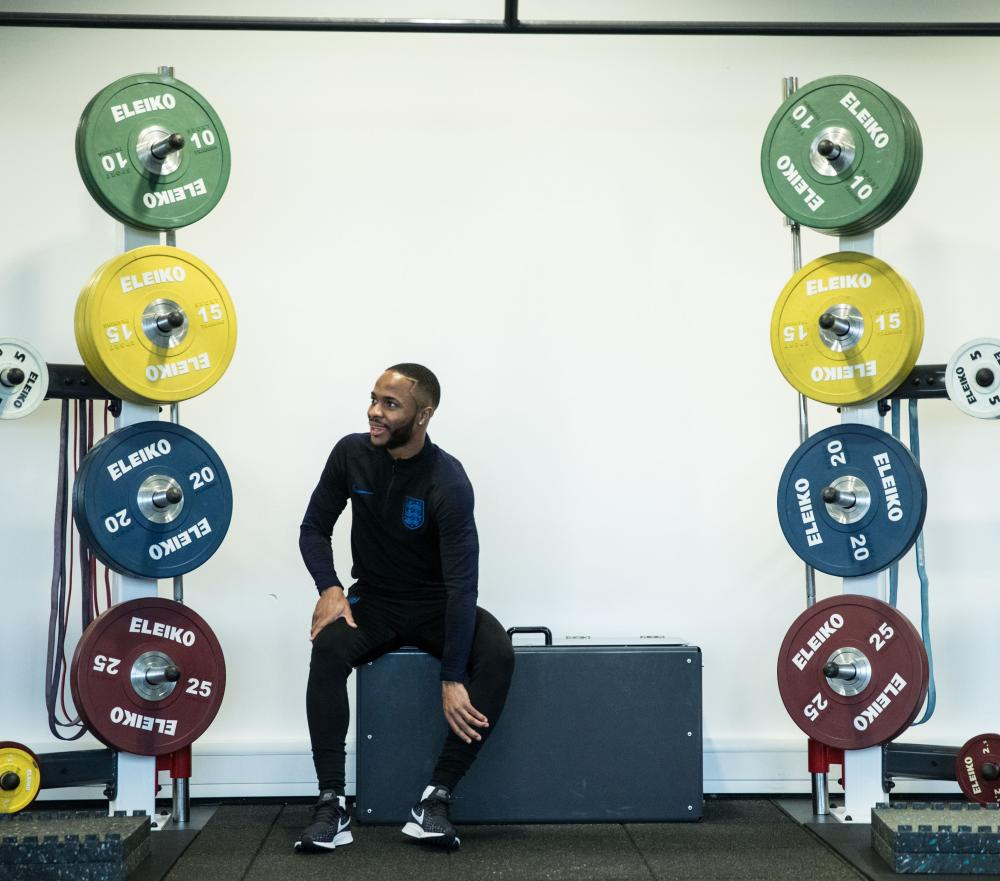 Raheem Sterling in the gym at St George's Park on Monday