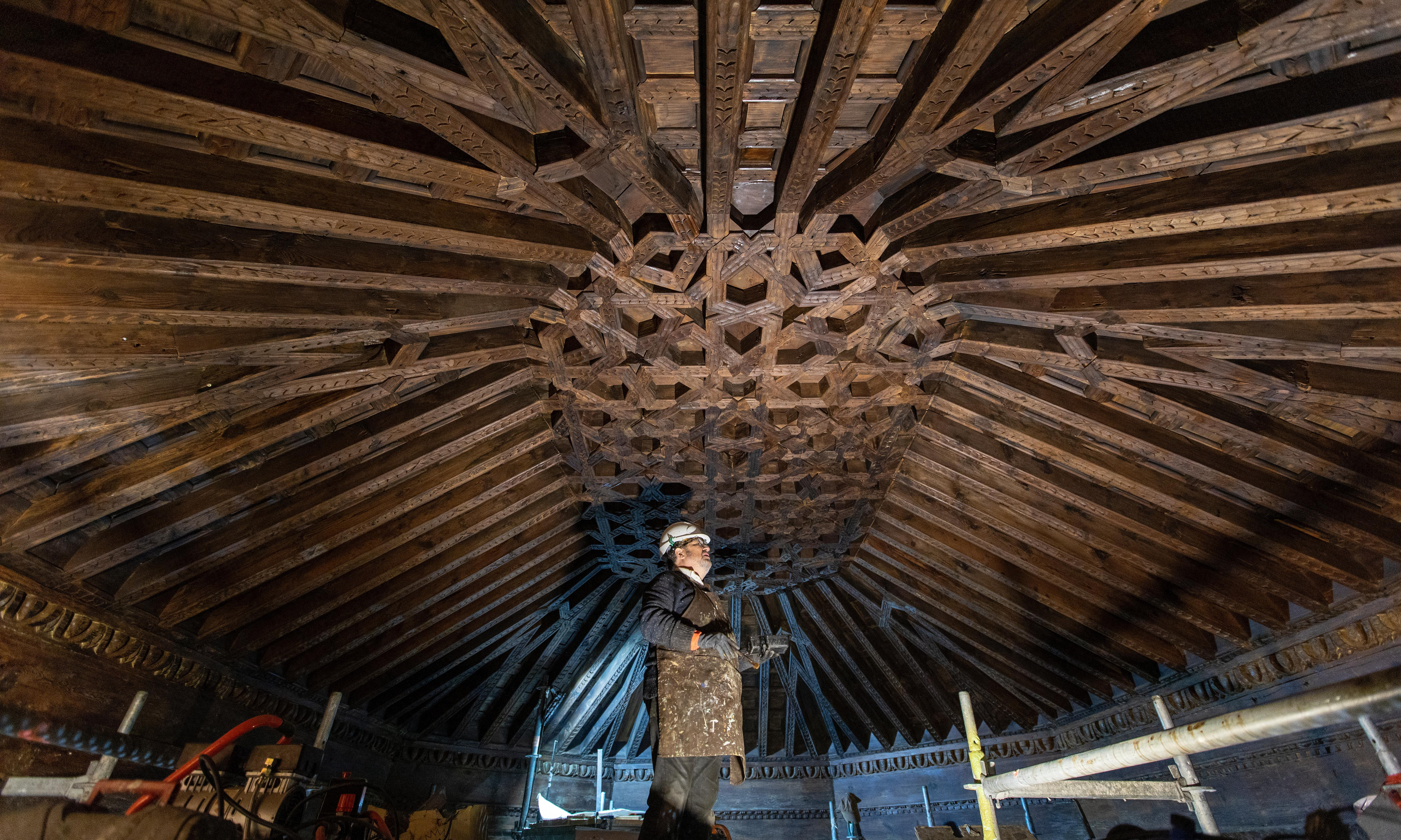 Madrid church ceiling restored to glory after centuries under plaster