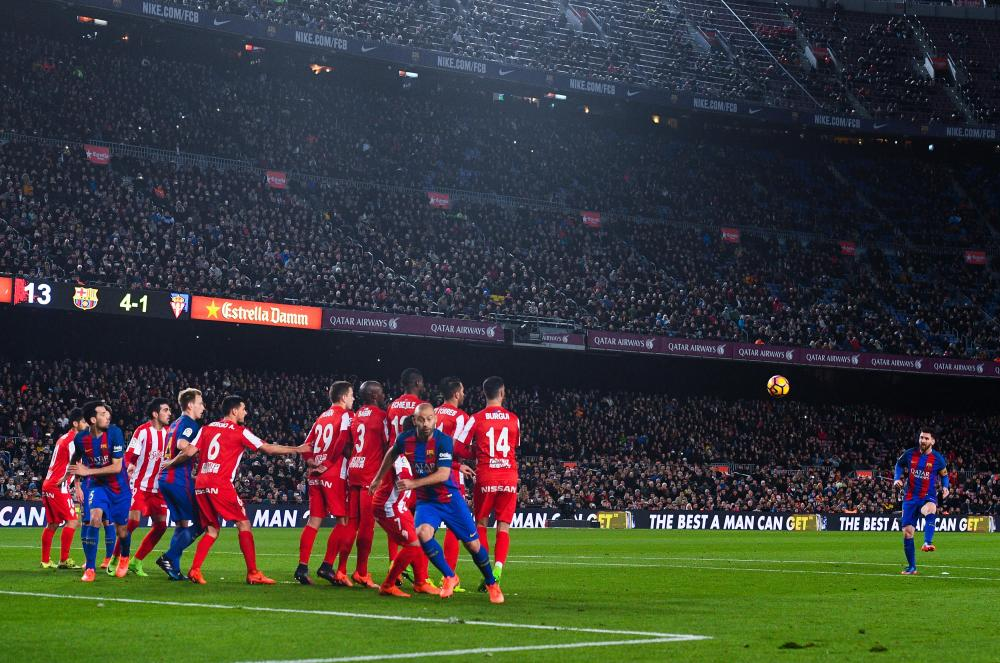 Lionel Messi's cheeky dink of a free-kick.