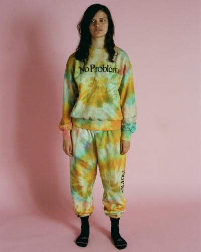 Aries Arise's No Problemo tie-dyed sweatpants have become a cult favourite.