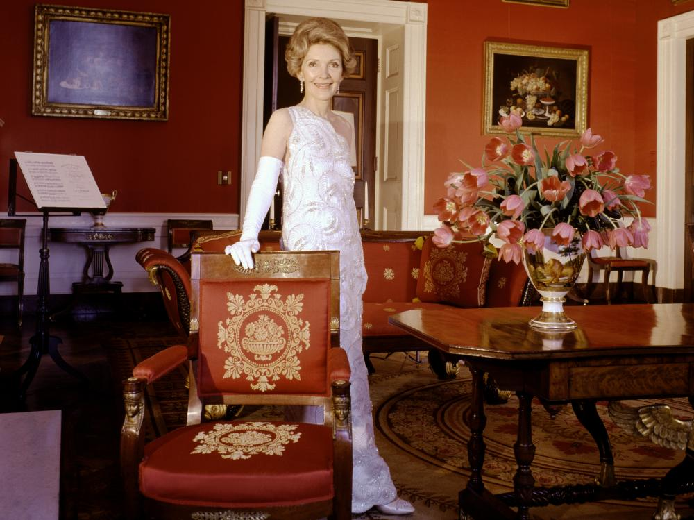 Nancy Reagan poses in the White House's red room in 1981.