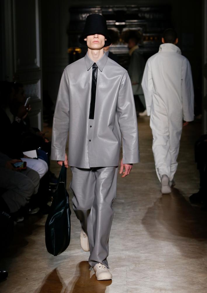 Grey leather at Jil Sander.