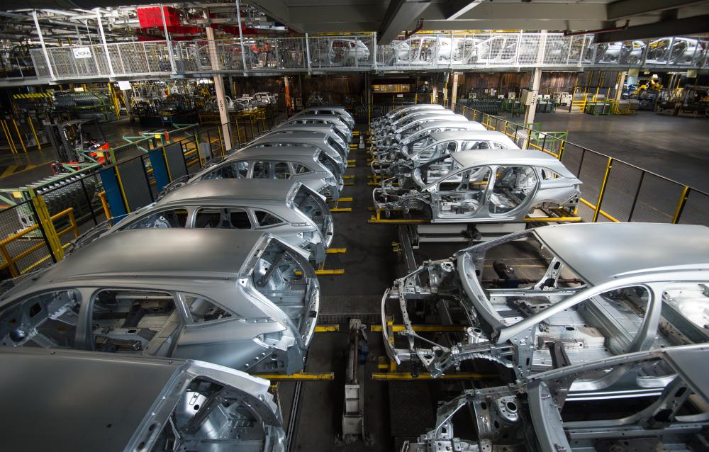 Astra bodies line up at the Vauxhall car plant at Ellesmere Port