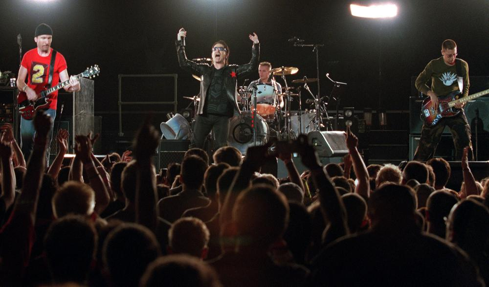 U2 performing in New York in 2001.
