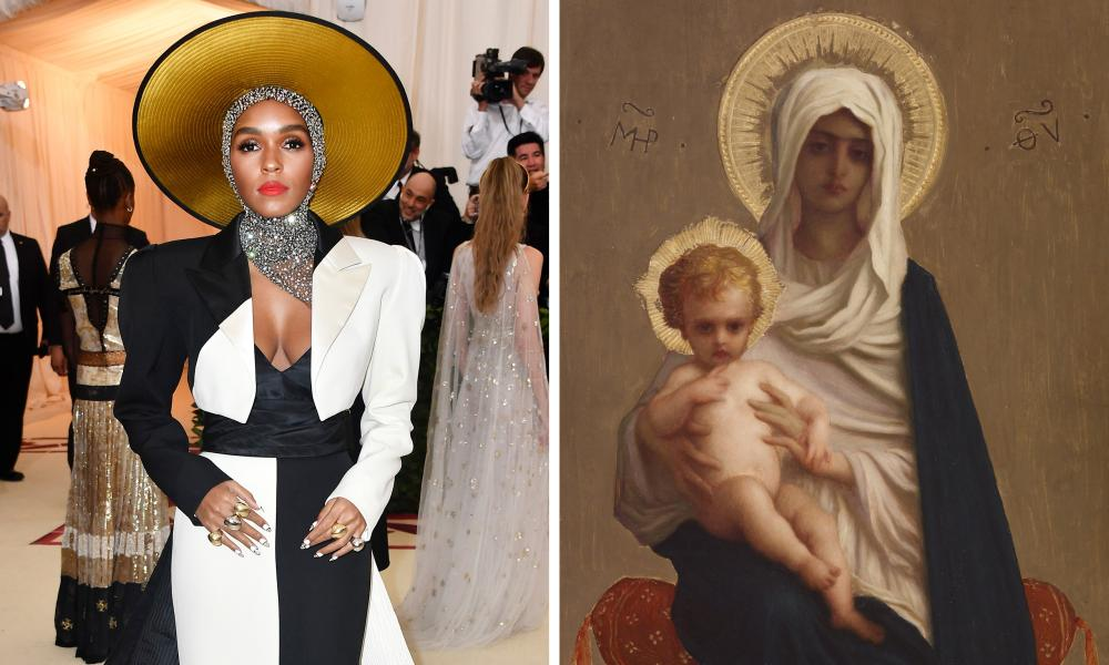 Janelle Monáe and a detail from The Virgin of Deliverance, by Auguste-Antoine-Ernest Hébert.