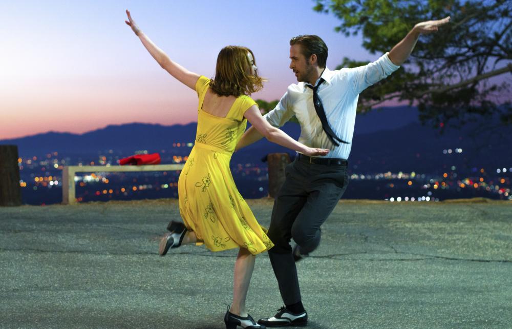 Emma Stone wears canary yellow in a scene from La La Land.