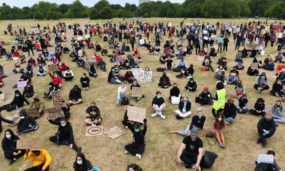 People observing social distancing today at a Black Lives Matter protest rally in Hyde Park, London.