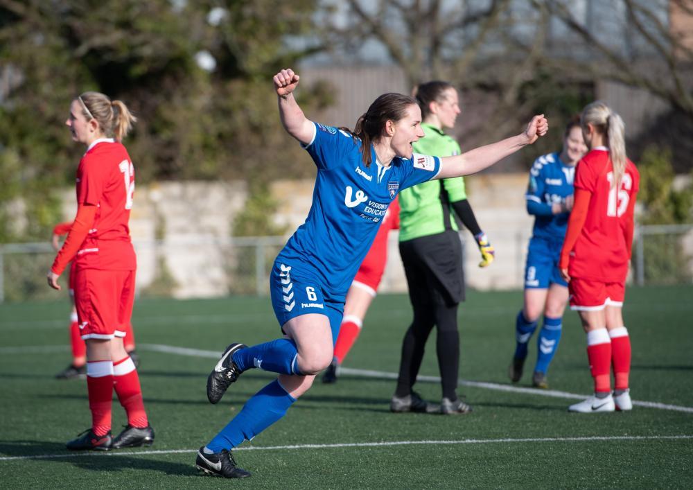 Sarah Robson of Durham celebrates scoring their third goal against Cardiff City.