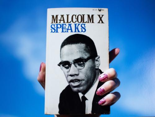 Sadie Barnette, Untitled (Malcolm X Speaks), 2018. Archival pigment print and Swarovski crystals.