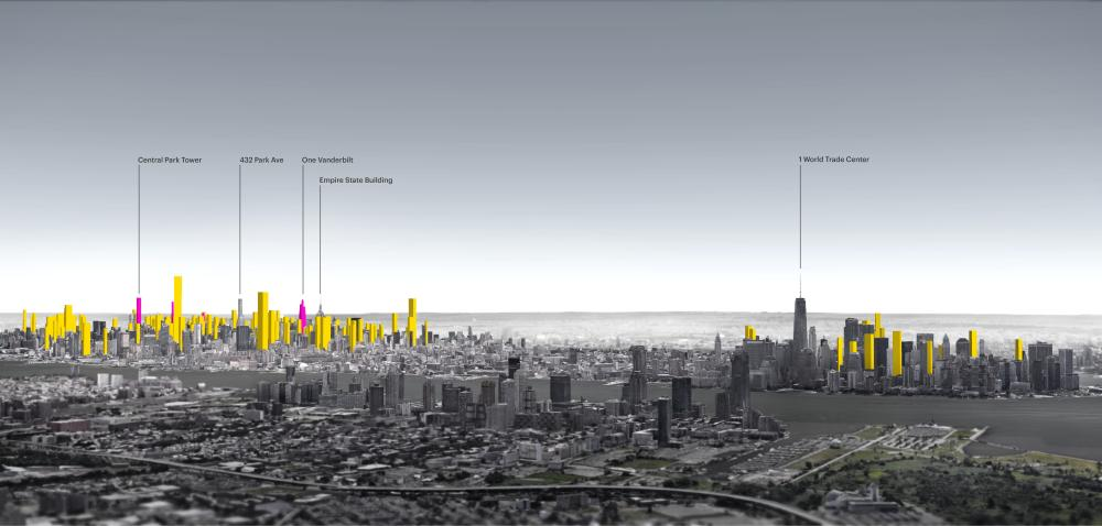 A graphic showing 159 sites in Manhattan that could potentially accommodate a residential skyscraper of 600ft or taller.