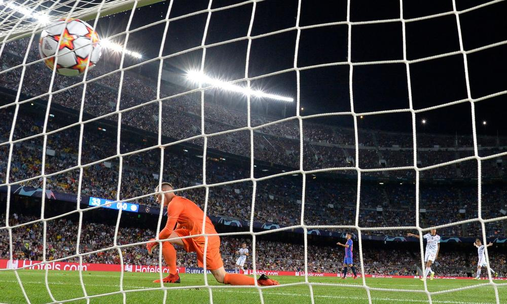 Marc-André ter Stegen is beaten by the deflection off Eric García as Thomas Müller put Bayern ahead.