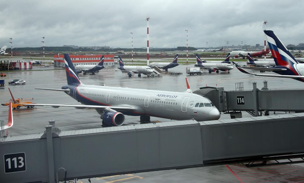 Aeroflot passenger aircraft outside Terminal B at the Sheremetyevo International Airport near Moscow during the coronavirus pandemic.
