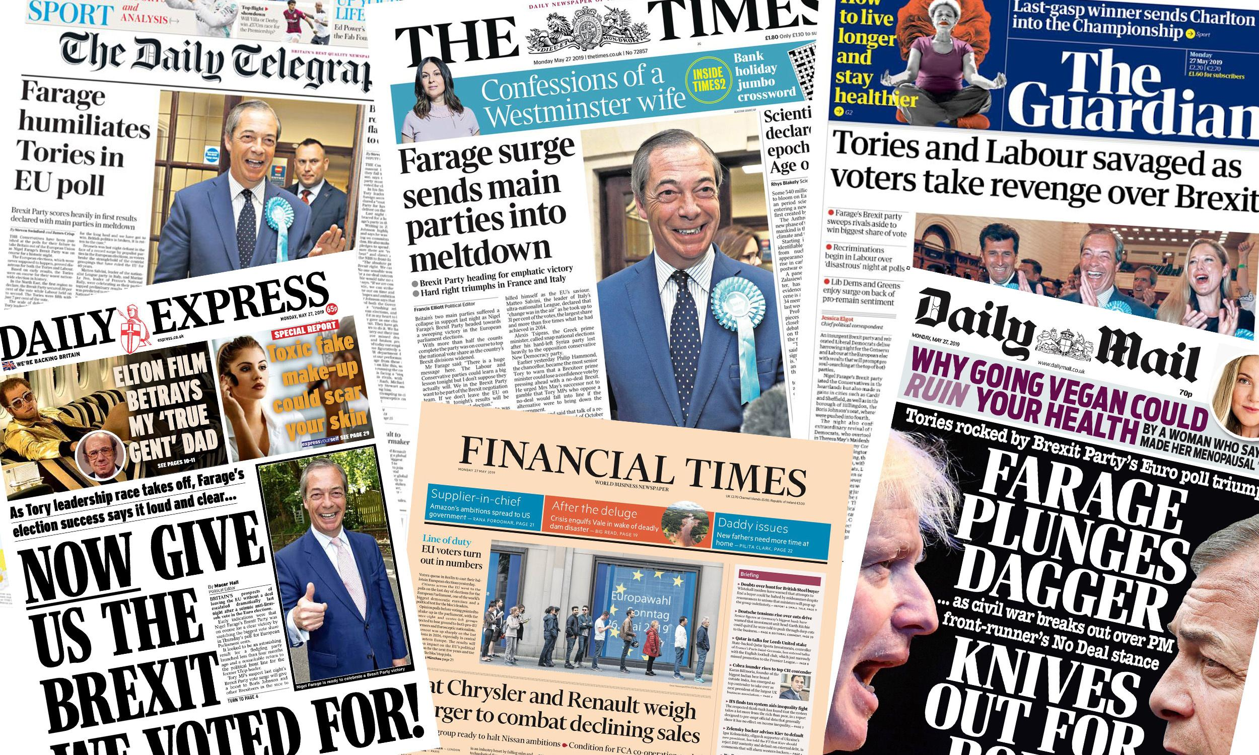 Knives, daggers and hammers: what the UK papers say about the EU election results