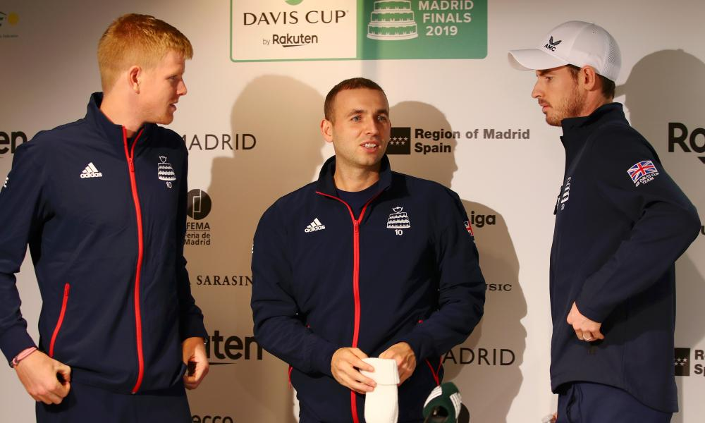 Kyle Edmund, Dan Evans and Andy Murray on Great Britain duty at the Davis Cup