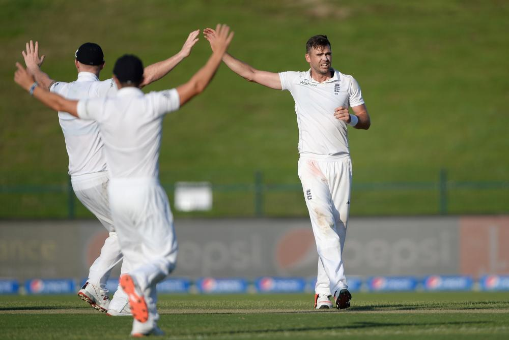 James Anderson and his England team-mates appeal for the wicket of Pakistan captain Misbah-ul-Haq.