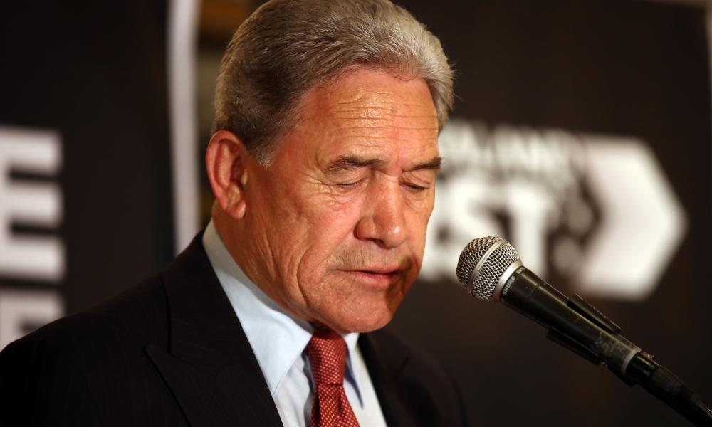 New Zealand First leader Winston Peters speaks to supporters at the Duke of Marlborough Hotel