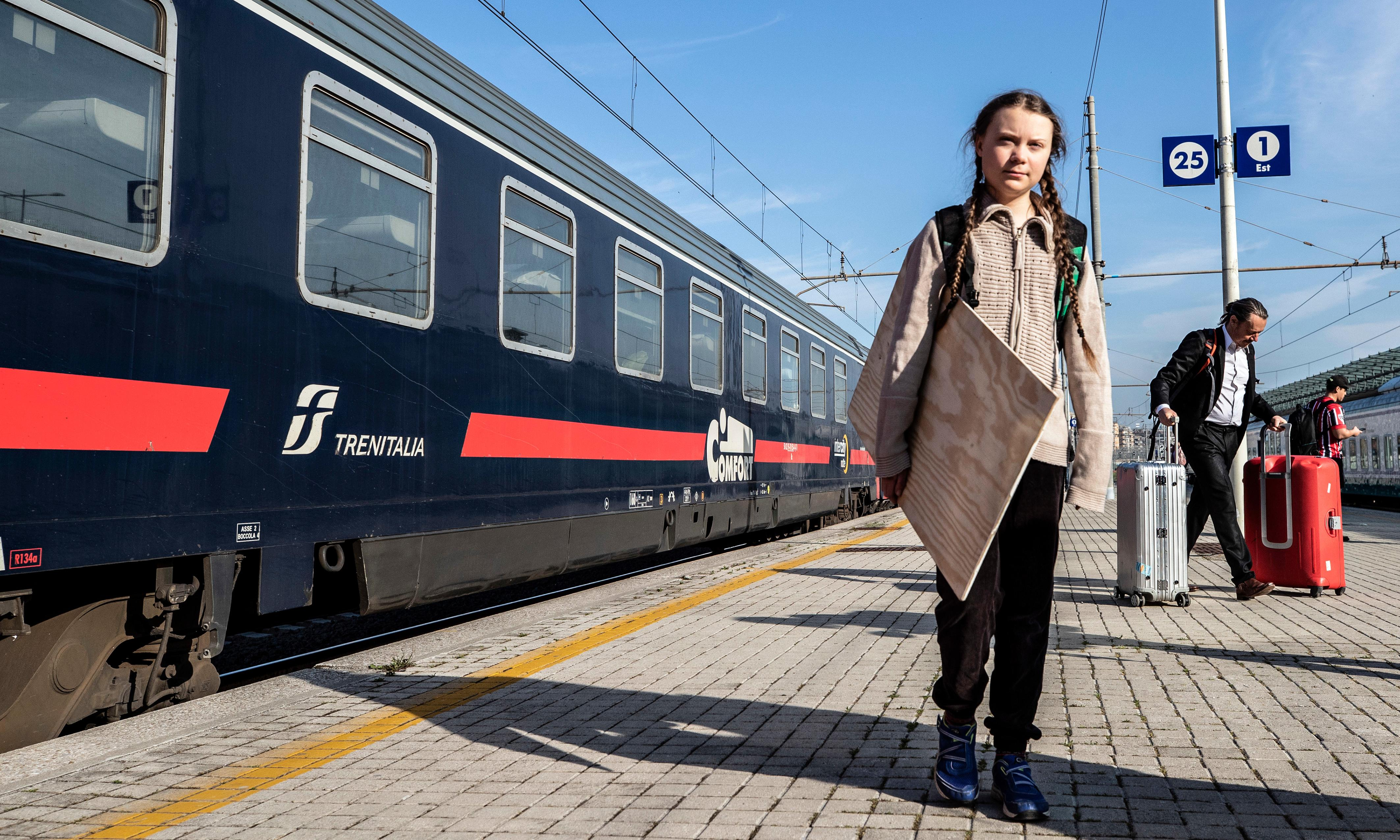 Greta Thunberg's train journey through Europe highlights no-fly movement