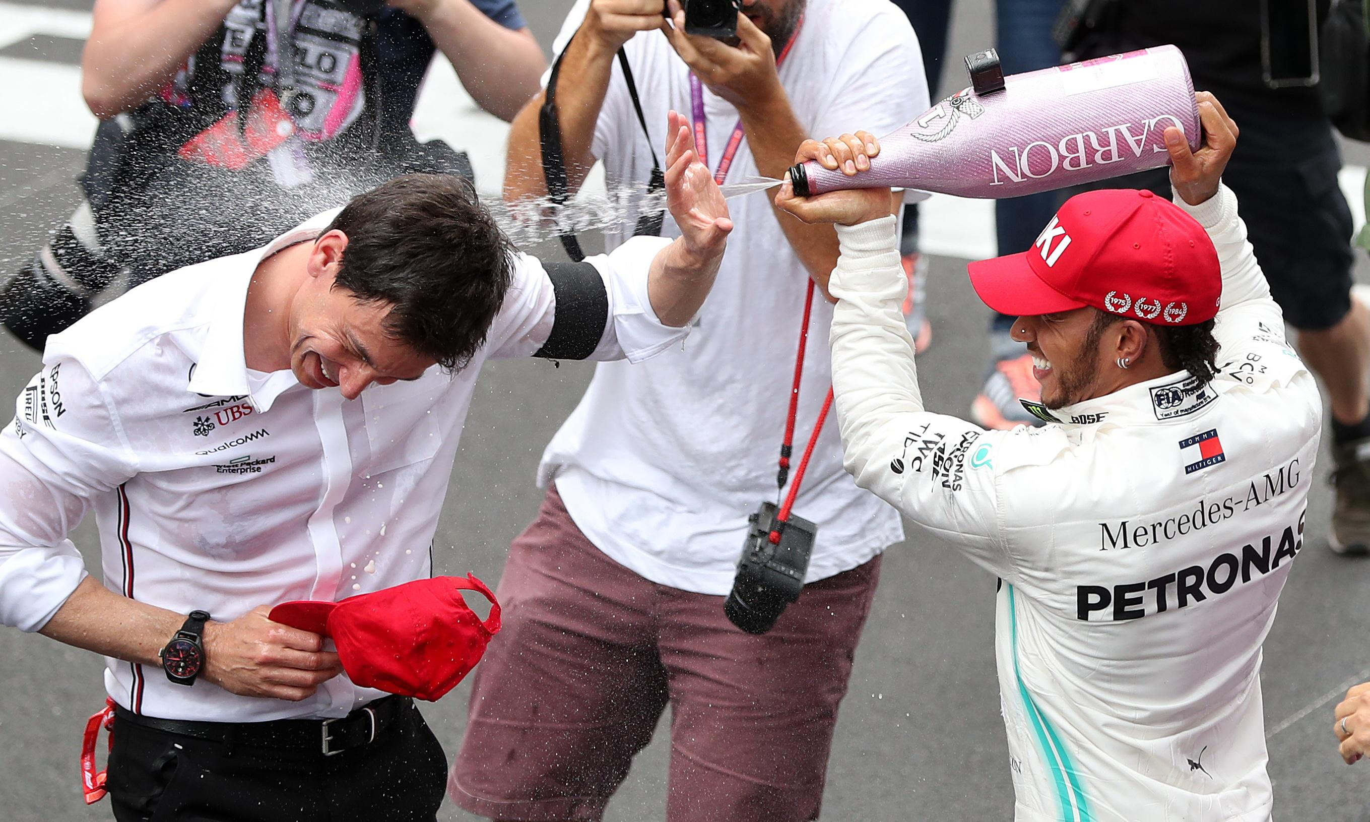 Lewis Hamilton performs handbrake turn and backs Wolff for F1's top job