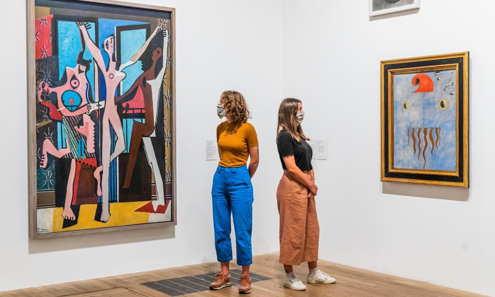 Tate Modern reopens … Picasso's Three Dancers and Miro's Head of a Catalan Peasant.