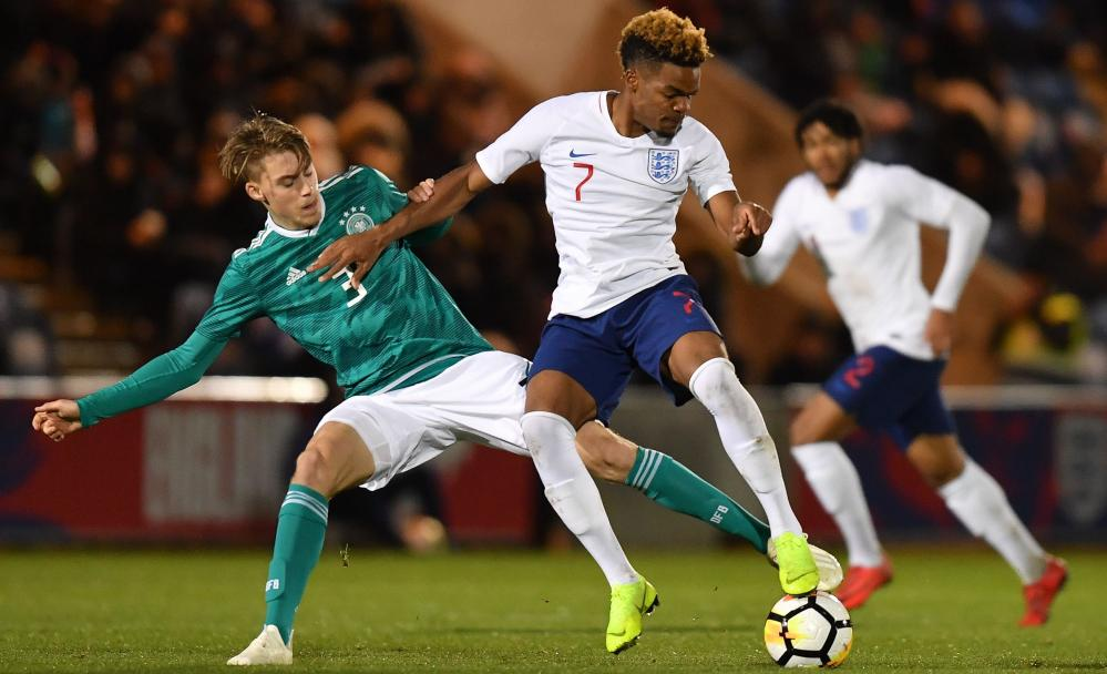 Grady Diangana in action for England Under-20s against Germany on Monday.
