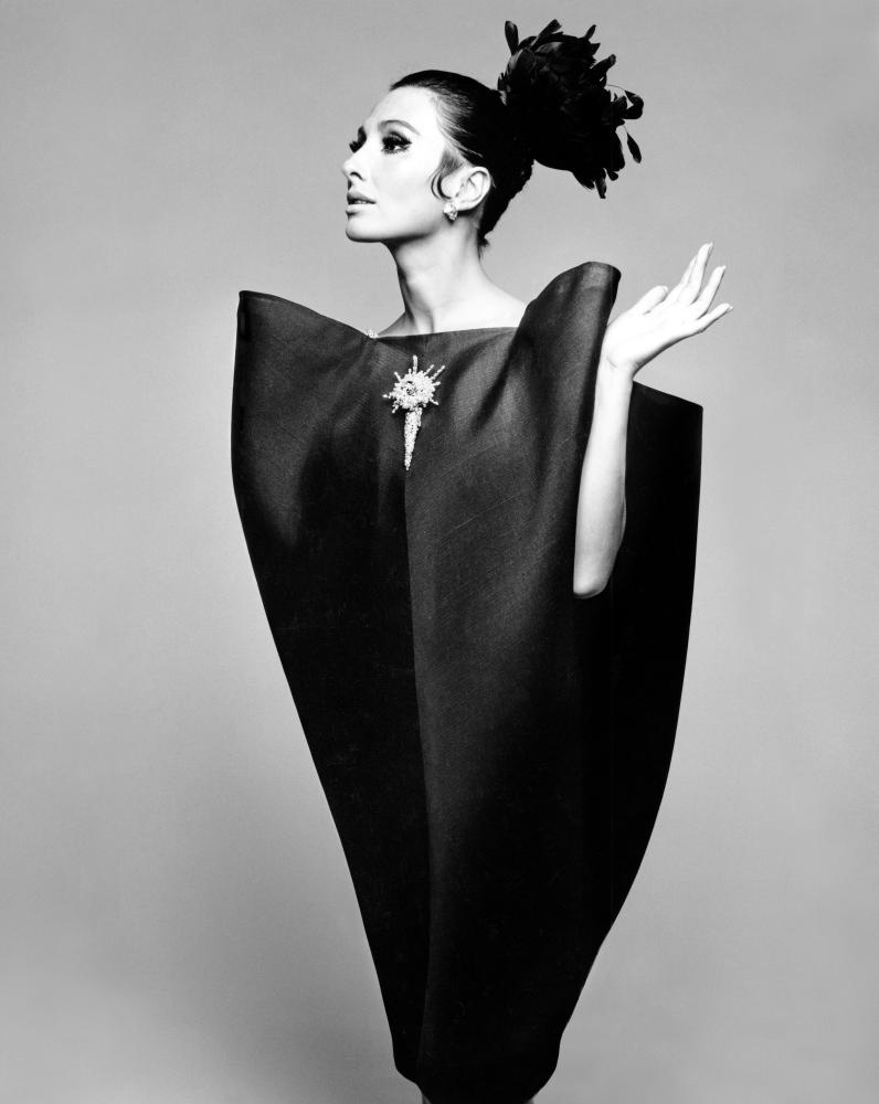 Alberta Tiburzi in a Cristóbal Balenciaga dress, Harper's Bazaar, June 1967