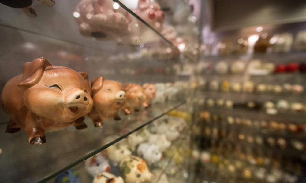 Piggy banks on display at the Stuttgart Pig Museum.
