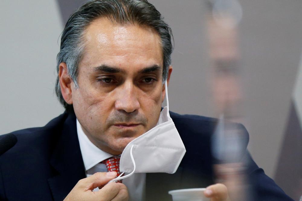 Pfizer's Latin America president, Carlos Murillo during the congress inquiry.