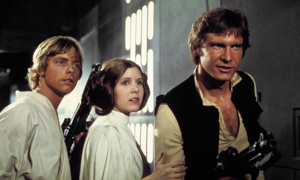 Mark Hamill, Carrie Fisher and Harrison Ford in the original 1977 Star Wars: Episode IV - A New Hope film.