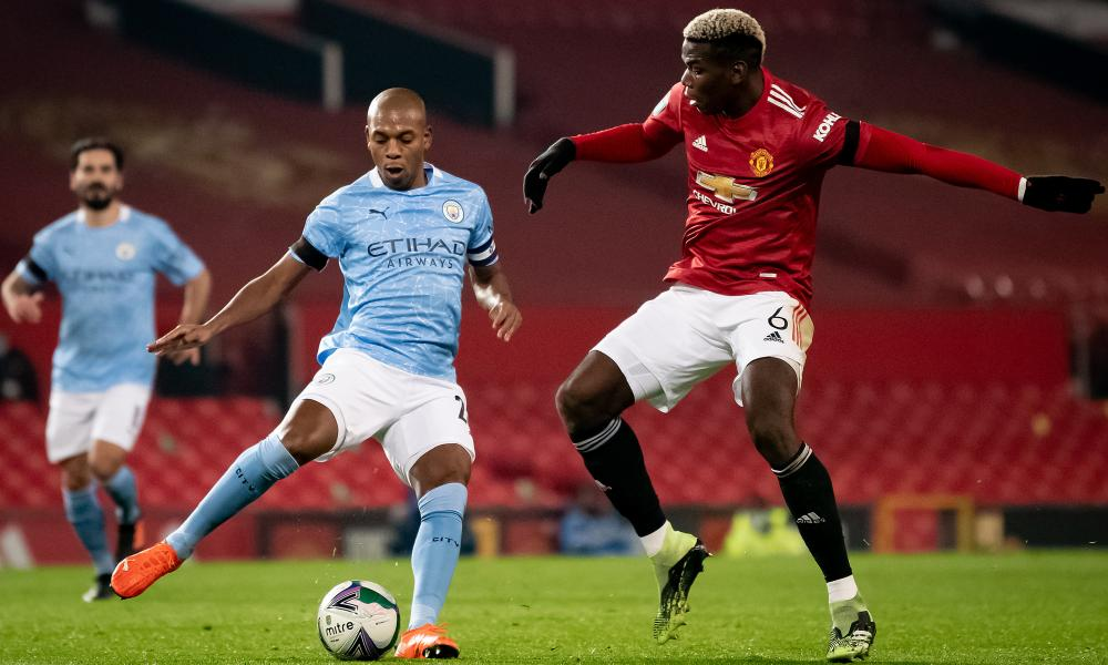 Fernandinho (left) was superb at Old Trafford with his positional play and goal.