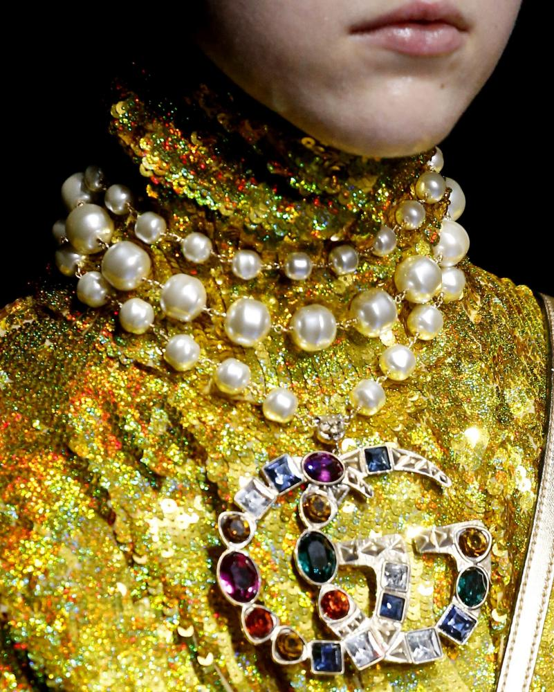 Gucci rhinestones and pearls