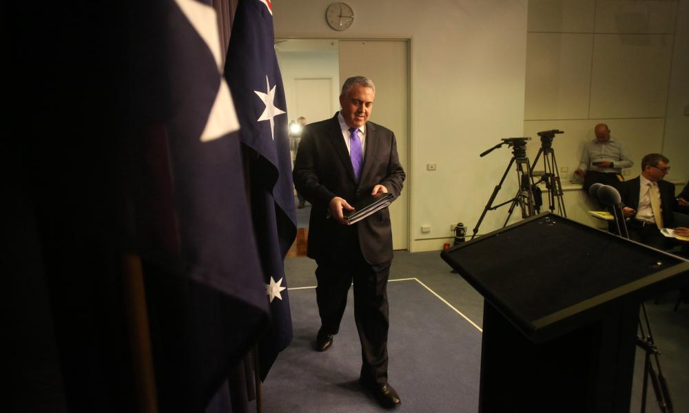 The treasurer Joe Hockey at a press conference in the blue room of Parliament House in Canberra this afternoon, Wednesday 3rd June 2015.