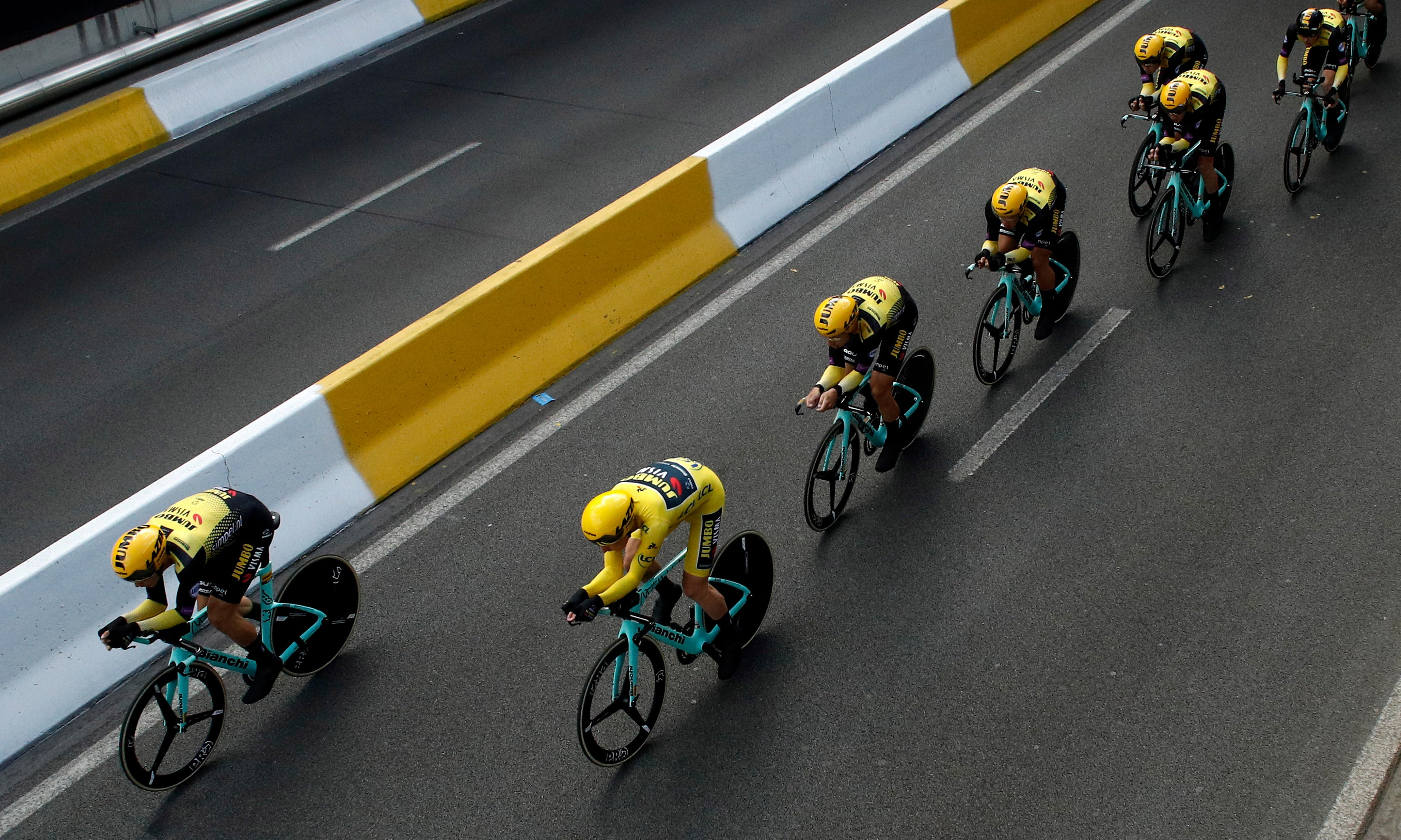 Tour de France: Jumbo-Visma win team time trial as Teunissen stays in yellow