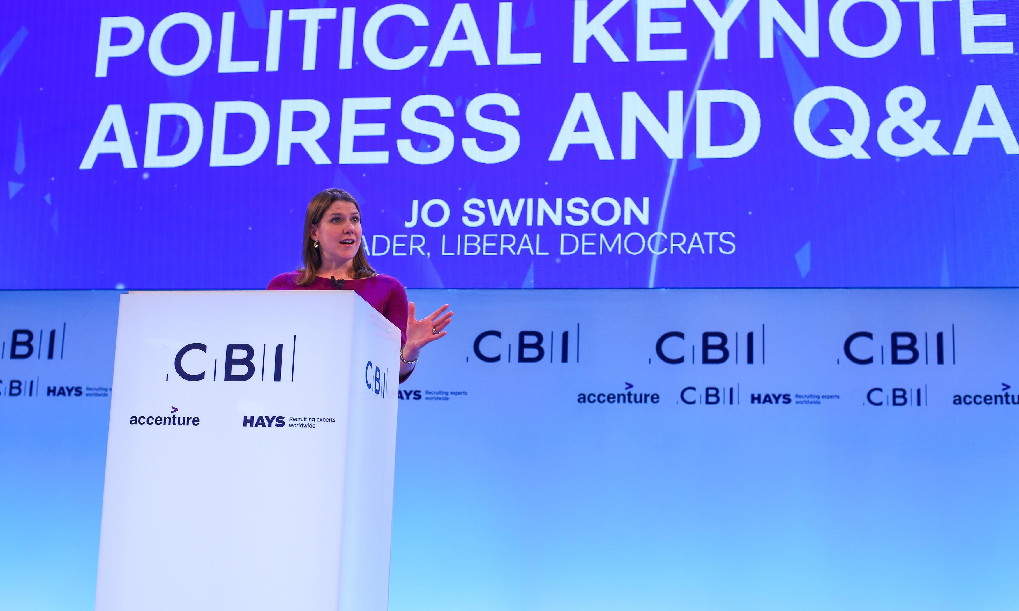 Jo Swinson gets best reception at CBI for Lib Dems' pro-EU stance