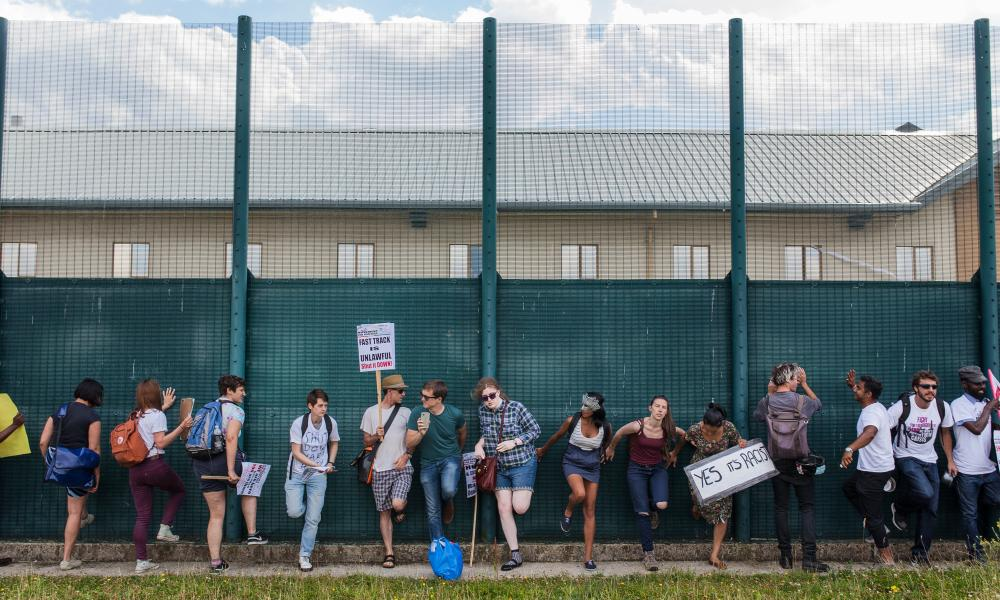 Protesters demonstrate outside Yarl's Wood immigration removal centre.