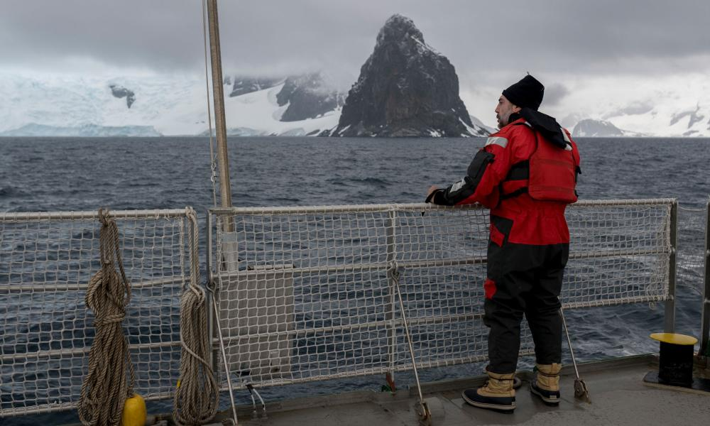 Spanish actor Javier Bardem on the deck of Greenpeace ship the Arctic Sunrise this week.