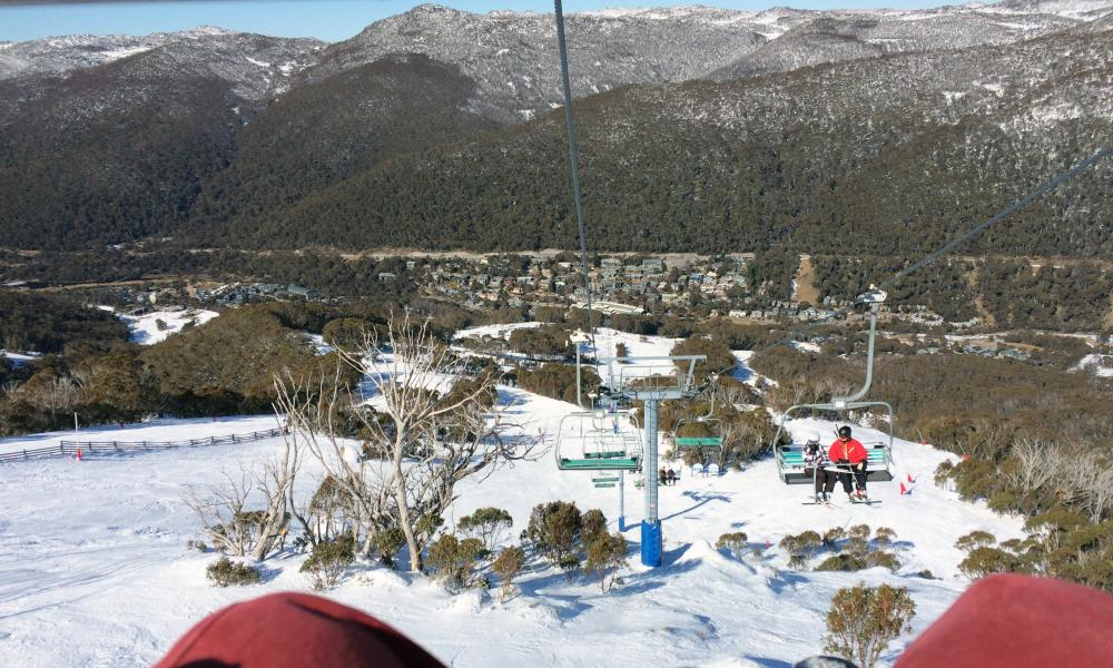 View from the Kosciuszko Express chair lift, Thredbo, NSW, Australia. iPhone shot by Fred McConnell for travel piece.